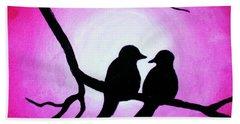 Red Love Birds Silhouette Bath Towel