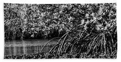 Red Mangrove Tree Roots In Black And White Hand Towel