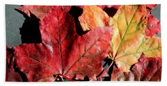 Red Maple Leaves Digital Painting Bath Towel by Barbara Griffin