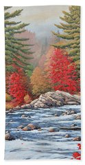 Red Maples, White Water Bath Towel