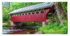 Hand Towel featuring the photograph Red Mill Covered Bridge by Trey Foerster