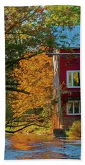 Red Mill In Autumn Bath Towel by Trey Foerster