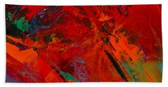 Hand Towel featuring the painting Red Mood by Elise Palmigiani