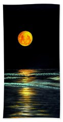 Hand Towel featuring the pastel Red Moon Rising by Antonia Citrino