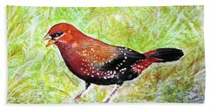 Red Munia Hand Towel by Jasna Dragun
