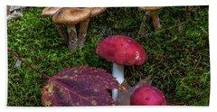 Red Mushrooms Hand Towel
