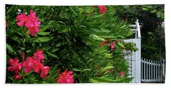 Bath Towel featuring the photograph Red Oleander Arbor by Marie Hicks