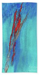 Red On Blue Abstract Hand Towel