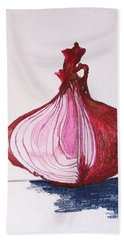 Hand Towel featuring the drawing Red Onion by Sheron Petrie