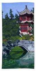 Hand Towel featuring the painting Red Pagoda by Lynne Reichhart