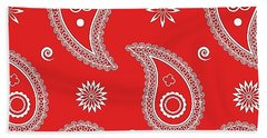 Red Paisley Bath Towel
