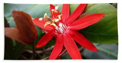 Red Passion Flower Hand Towel