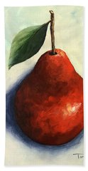 Red Pear In The Spotlight Bath Towel