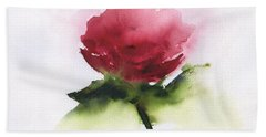 Red Rose Abstract Bath Towel