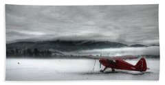 Red Plane In A Monochrome World Hand Towel