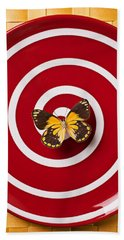 Red Plate And Yellow Black Butterfly Bath Towel