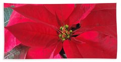 Red Poinsettia Bath Towel by Pamela Walton