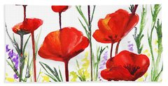 Red Poppies Art By Irina Sztukowski Bath Towel