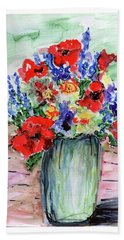 Red Poppies Hand Towel