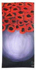Bath Towel featuring the painting Red Poppies  by Jolanta Anna Karolska