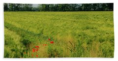 Red Poppies On A Green Wheat Field Hand Towel