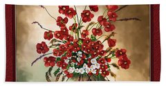 Hand Towel featuring the digital art Red Poppies by Susan Kinney