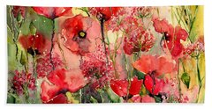 Red Poppies Wearing Pink Hand Towel