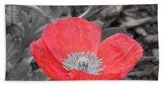 Red Poppy Flower Bath Towel