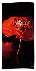Hand Towel featuring the digital art Red Poppy by Kirt Tisdale
