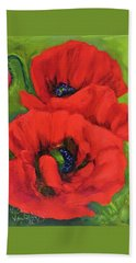 Red Poppy Seed Packet Bath Towel