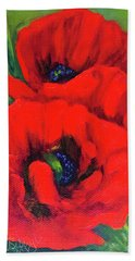 Red Poppy Bath Towel