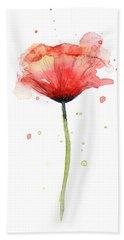 Red Poppy Watercolor Bath Towel