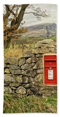 Red Postbox Down A Country Lane Bath Towel