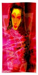 Red Queen Of Hearts Hand Towel by Seth Weaver