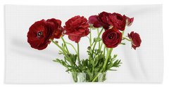 Hand Towel featuring the photograph Red Ranunculus by Kim Hojnacki