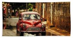 Red Retromobile. Morris Minor Hand Towel