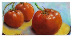 Red Ripe And Ready Hand Towel by Laurie Morgan
