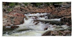 Hand Towel featuring the photograph Red Rocks Of Chippewa Falls by Rachel Cohen