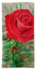 Red Rose Hand Towel by Jasna Dragun