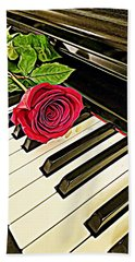 Red Rose On A Piano  Hand Towel