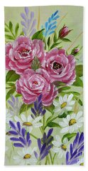 Red Roses Alla Prima Bath Towel