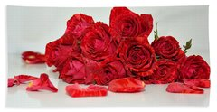 Red Roses And Rose Petals Hand Towel by Serena King