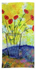Red Roses For You Bath Towel by Haleh Mahbod