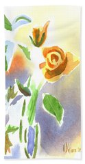 Red Roses With Holly In A Vase Hand Towel by Kip DeVore