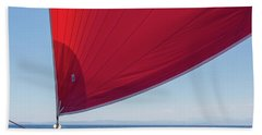 Hand Towel featuring the photograph Red Sail On A Catamaran 2 by Clare Bambers