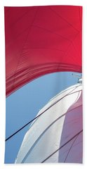 Hand Towel featuring the photograph Red Sail On A Catamaran 4 by Clare Bambers