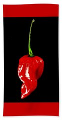 Red Scorpion Chilli Pepper Bath Towel by Michael Canning