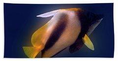 Red Sea Bannerfish On Blue Hand Towel
