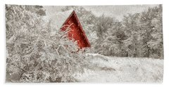 Red Shed In The Snow Bath Towel