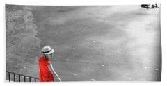 Red Shirt, Black Swanla Seu, Palma De Bath Towel